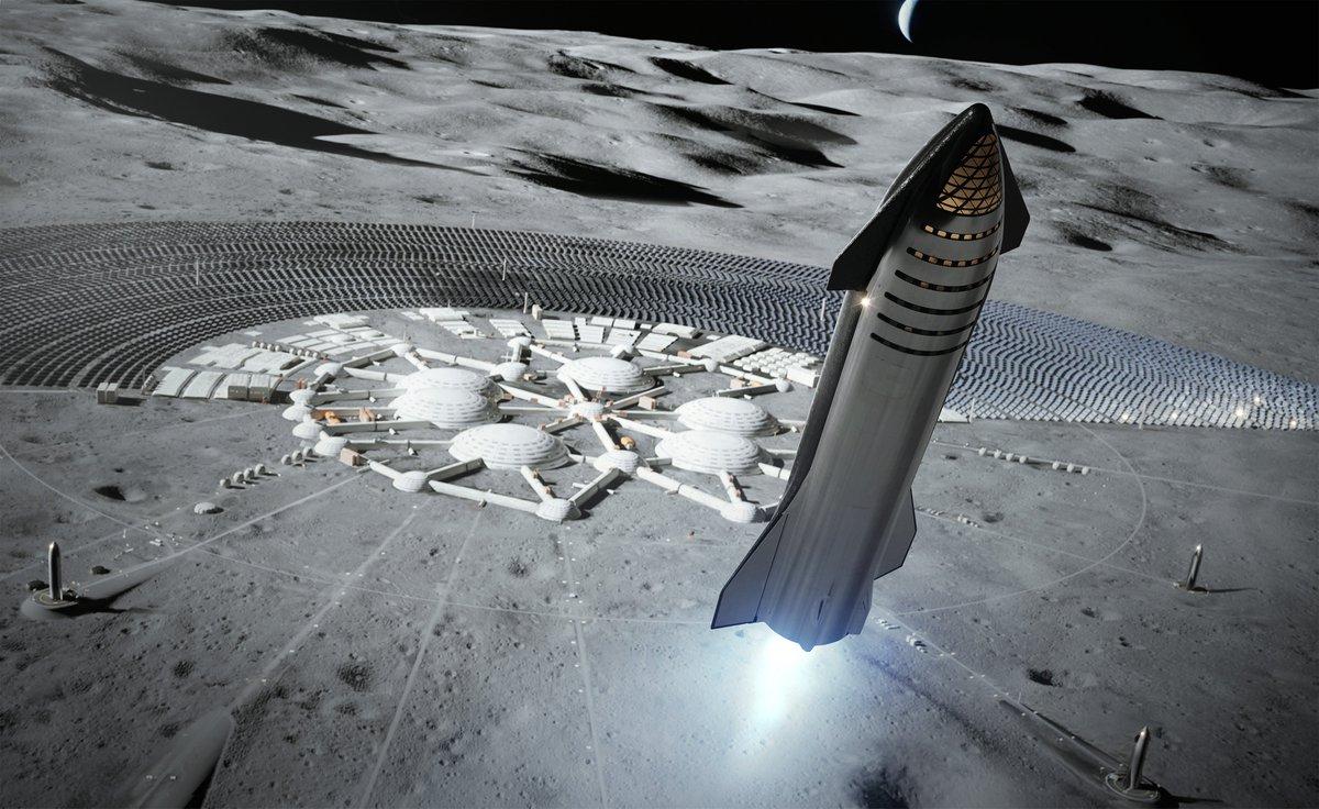 Ilustracion Starship en la Luna