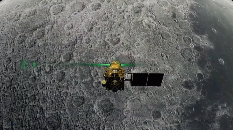Ilustracion Sonda orbital India en la Luna