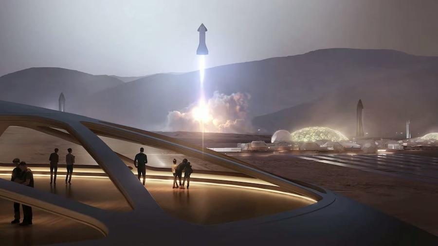 Ilustración Starship en Marte